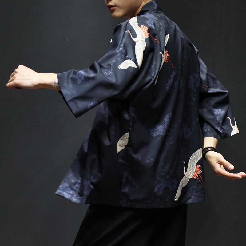 100% Wahr Mr-donoo Sommer Chinesischen Stil Kimono Dünne Mantel Vintage Japanischen Strickjacke Hemd Große Größe M-5xl Schal Streetwear Breakwear Qt4018 Und Verdauung Hilft