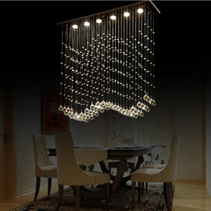 Modern minimalist restaurant chandelier crystal lamp light art ...