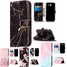 Wallet Leather Case For Samsung Galaxy J3 2017 Flip Case Colorful Marble Pattern Cover for Samsung J 3 2017 With Card Slot недорого