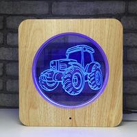 Creative Wooden Truck LED Night Light 7 Color Change Desk Light Action Figures Boys Girls Birthday Toys #548