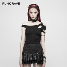 PUNK RAVE New Rock Daily Black Short Sleeve Casual Fashion Personality T-Shirt Gothic Strapless Women Slim Sexy Tees Tops