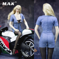 1/6 Scale Female Open Chest Denim Coverall Sleeveless Shirt Short Pants Siamese shorts For 12 Action Figure Toys Accessories