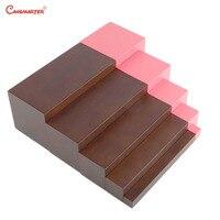 Математика Монтессори игрушки и игры розовая башня 5 шагов коричневые лестницы для детей развивающие игрушки Монтессори дома дошкольного