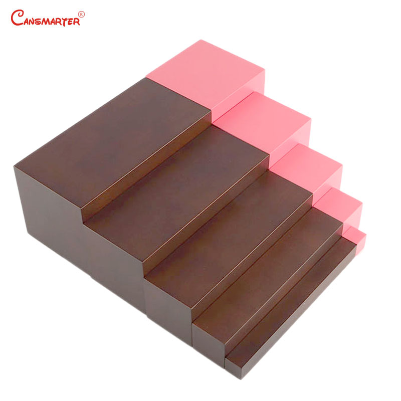 Montessori Math Toys and Games Pink Tower 5 Steps Brown Stairs for Children Educational Toys Montessori Home Preschool LT062-3