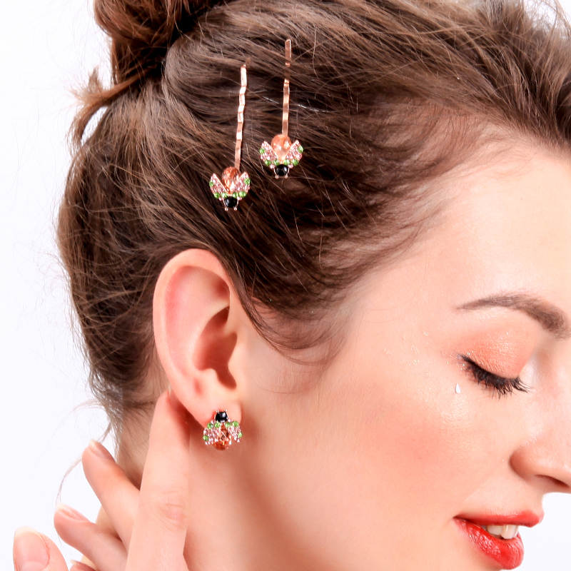 Crystal Ladybird Stud Earrings Rose Gold Color Insects Hypoallergenic For Women Summer New Arrival Fashion Jewelry