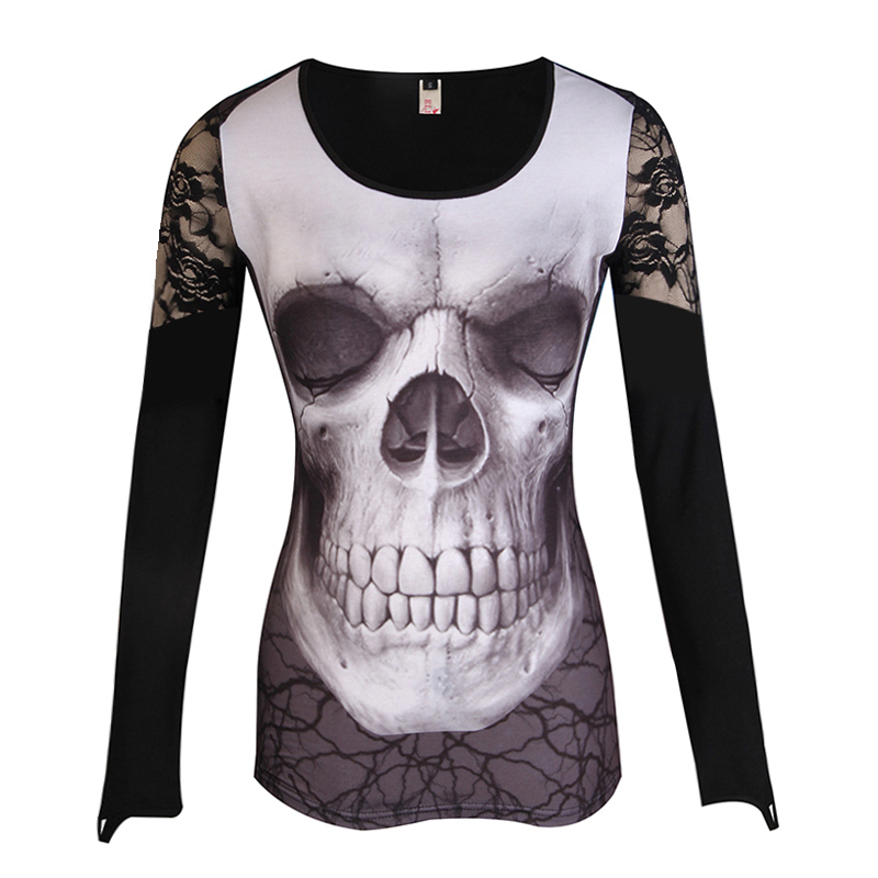 Amber Boutique Women T-Shirt Lace Patchwork O-Neck Skull Printed Sexy Tops Tee Shirt Black Plus Size S-5XL LJ8464R