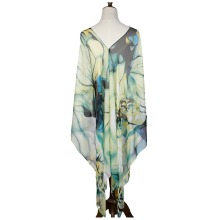 women kaftan beach dress summer cover up chiffon silk polyester bikini outwear multi wear wraps amice cappa tippet long