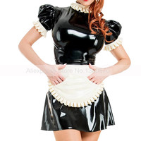 Sexy Maid Latex Fetish Girl Dress with Apron Puff Sleeves Rubber Uniform Lolita Bodycon Playsuit Size Customized S LD290