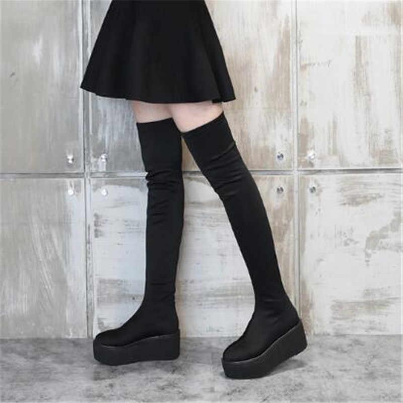 2018 Tasarım Platformu Diz Çizmeler Üzerinde Streç Kadın Yuvarlak Ayak Kalın Alt Takozlar Süet Uzun Çizmeler Bayan Uyluk Botları jawakye