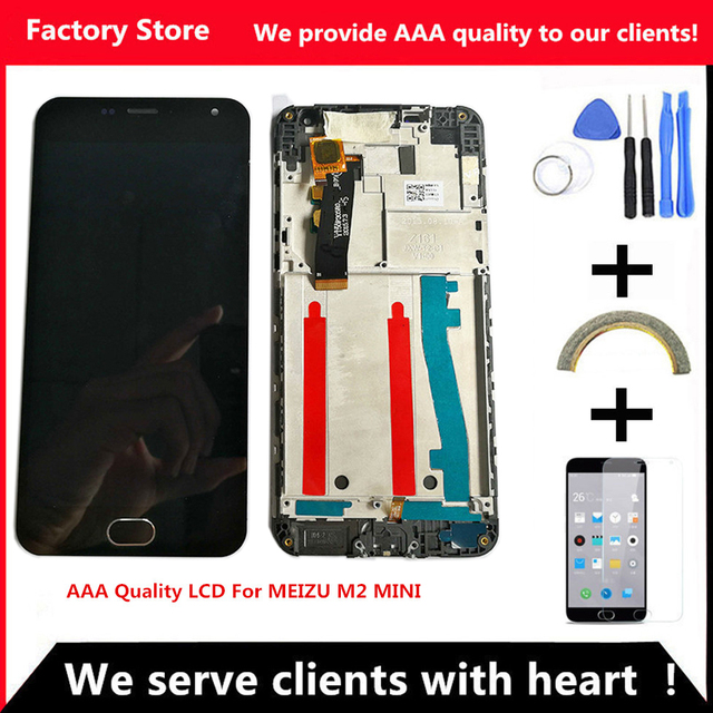 Q&Y QYJOY AAA Quality LCD +Frame For MEIZU M2 Mini Lcd Display Screen Replacement For MEIZU M2 MINI Digiziter Aseembly