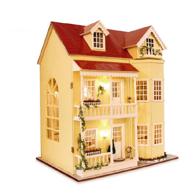Cutebee DIY Casa miniatura con muebles LED música polvo cubierta modelo bloques De construcción juguetes para niños Casa De Boneca