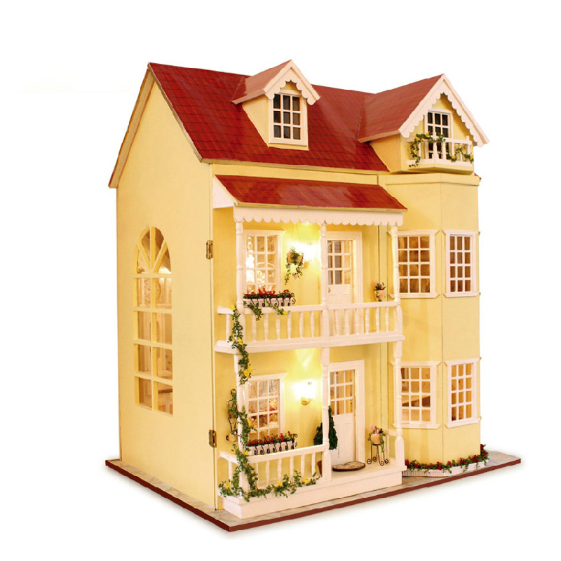 DIY Wooden House Miniaturas with Furniture DIY Miniature House Dollhouse Toys for Children Christmas and Birthday Gift A010 diy wooden house miniaturas with furniture diy miniature house dollhouse toys for children christmas and birthday gift a28