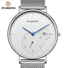 618d31923b0 STARKING Criativo Relógios Homens de Aço Inoxidável Preto Banda Malha Relógio  Feminino Relógios Com Auto Data