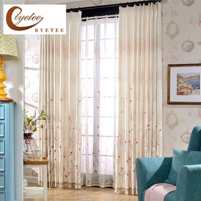 [byetee] Custom Drapes High Grade Cotton Living Room Bedroom Blackout  Curtains For Fabric