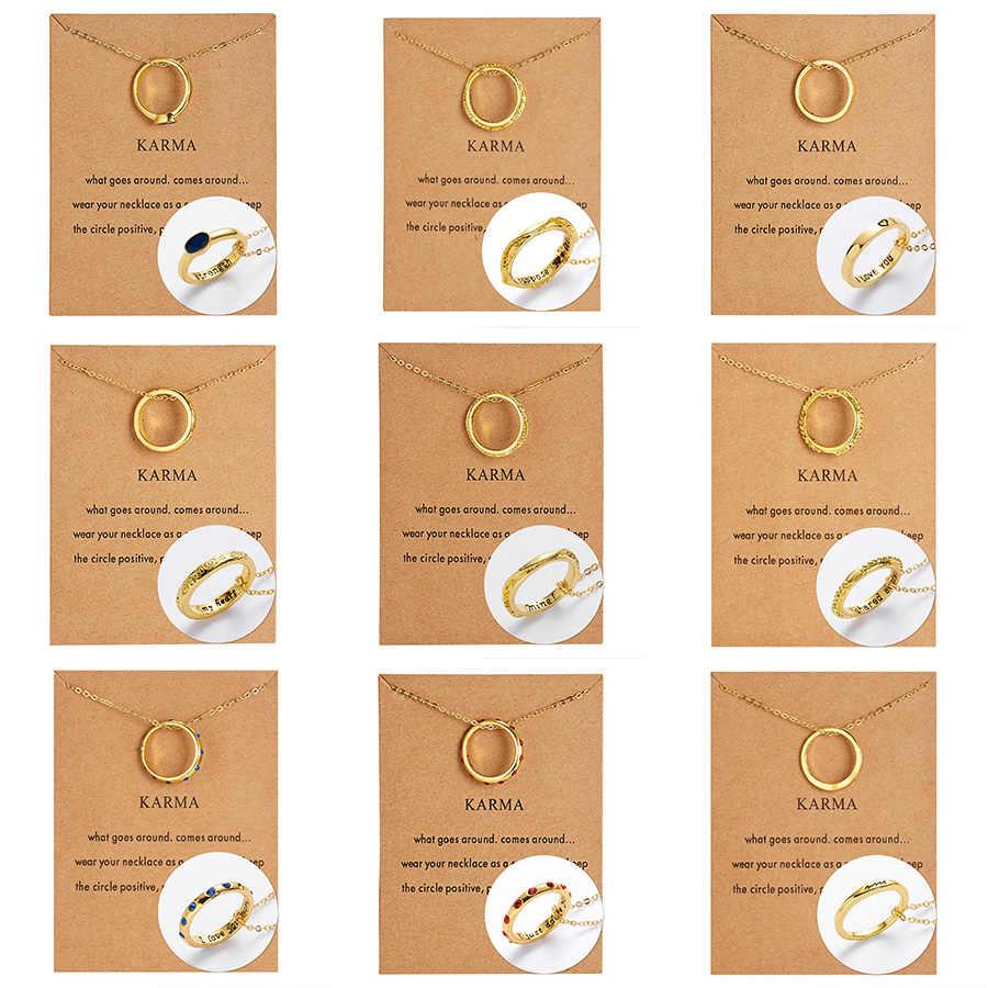 Avec carte collier nouveauté Custome anneau pendentif collier Simple or argent chaîne femmes mode bijoux déclaration cadeaux