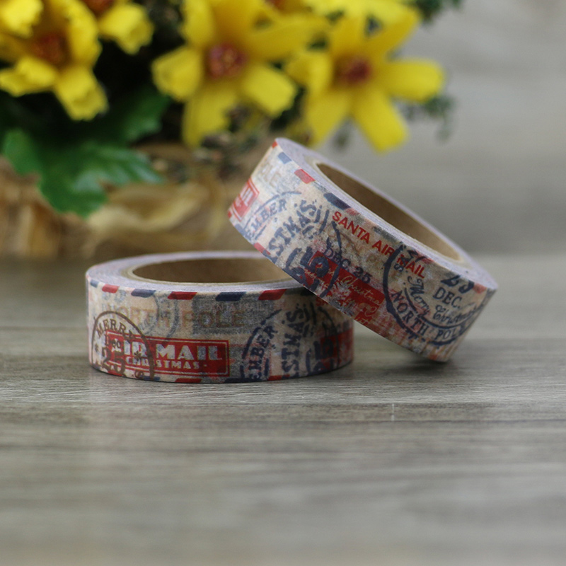 1 Roll Vintage Postmark Washi Tape DIY Decoration Scrapbooking Planner Masking Tape Adhesive Tape Label Sticker Stationery