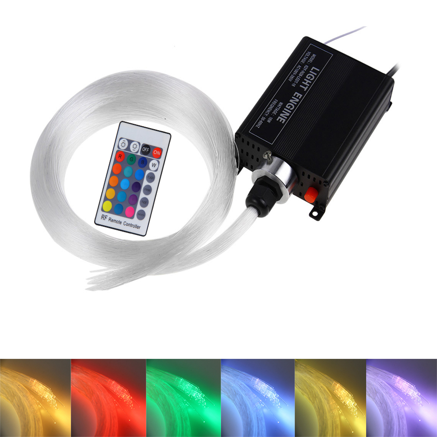 Hot 16W RGBW LED Fiber optic light Star Ceiling Kit Lights 150pcs 0.75mm 2M Led optical fiber lighting RF 24key Remote engine