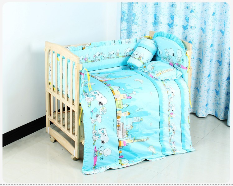 Promotion! 6PCS 100% cotton crib bedding sets cover, crib set,unpick(3bumpers+matress+pillow+duvet)