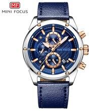 MINI FOCUS الرياضة ساعة الرجال مقاوم للماء حزام من الجلد كرونوغراف رجالي ساعة اليد ساعات يد كوارتز الرجال العلامة التجارية الفاخرة الذكور على مدار الساعة