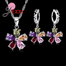 5Color CZ Flower 925 Sterling Silver Pendant Necklace Earrings Ear Sets Wedding Bridal Cubic Zirconia Crystal Jewelry Sets(China)