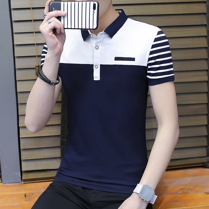 2018 new summer polo shirt small fresh turn leader stripes male short-sleeved business casual