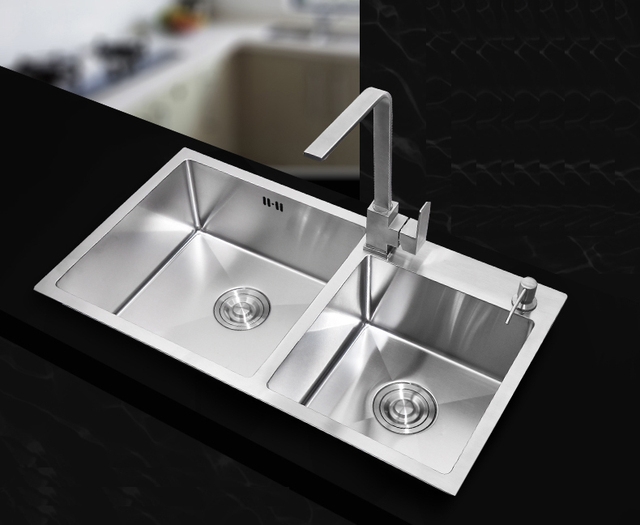 730*400*220mm Stainless Steel Undermount Kitchen Sinks Sets Double Bowl  Drawing Double Drainer