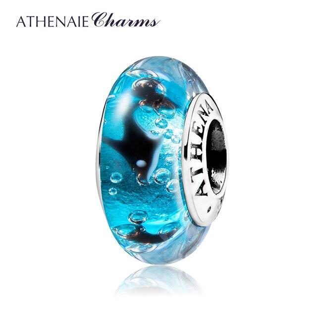 207b328dd ATHENAIE 925 Sterling Silver Murano Glass Beads Blue Ocean Playful Dolphin  Charms Bead for European Bracelet Neckalce Jewelry