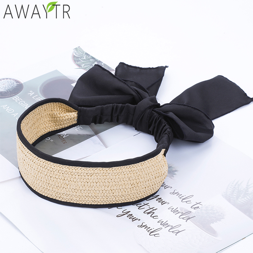 AWAYTR Bohemian Wide Elastic Hair Band Straw Weave Girl Headband Solid Retro Fashion Ladies   Headwear   Women For Hair Accessories