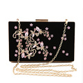 2016 Fashion Luxury Flower Evening Bag Handmade Clutch Bags Women Crystal Butterfly Handbags Party Velvet Clutches Purses JXY784