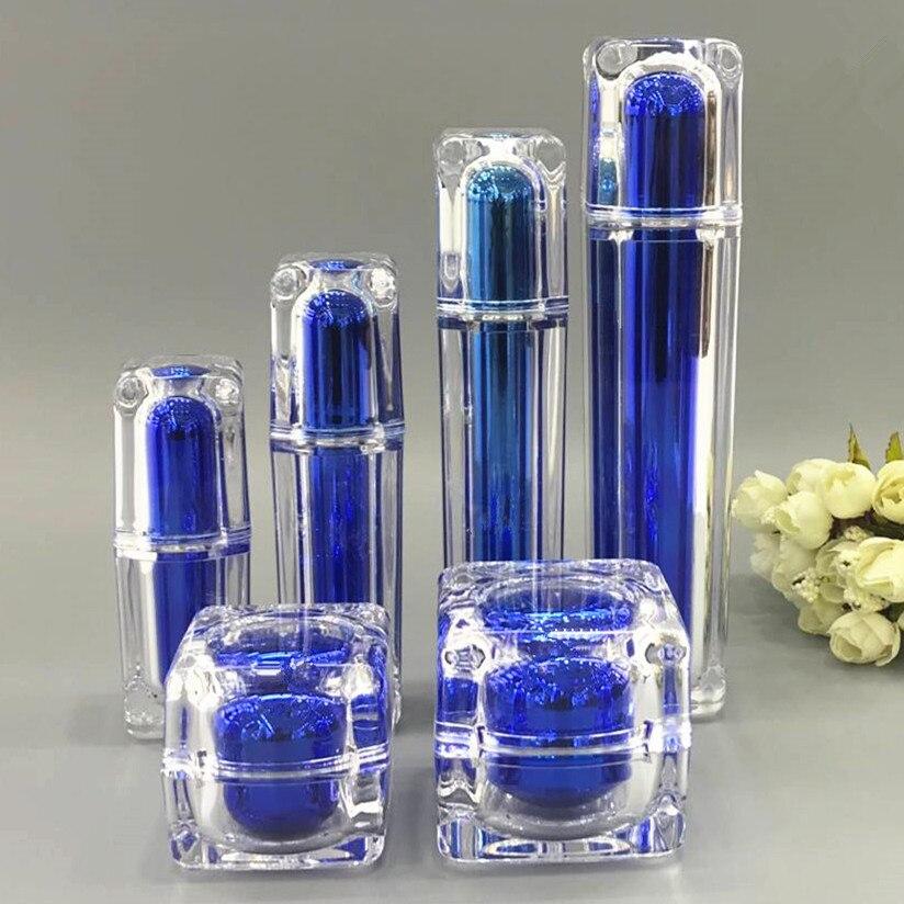 6pcs lot 30 50g Acrylic Blue Cream Cosmetic Jar Pot 15 30 50 100ml Lotion Pump