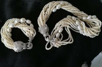 one set 10rows freshwater pearl white near round baroque leopard clasp necklace bracelet 18inch FPPJ wholesale beads nature
