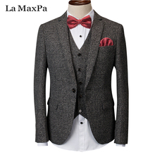 La MaxPa (jacket+pants+vest) Brand males go well with male go well with for wedding ceremony spring informal slim match groom celebration gown enterprise plaid go well with