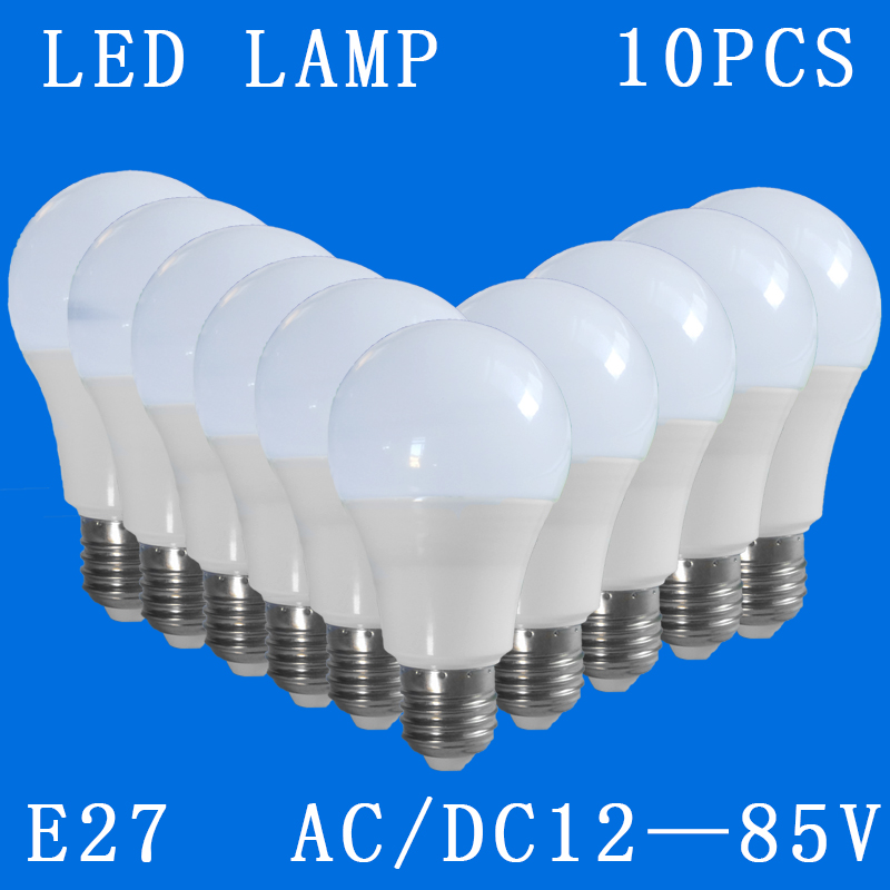 10pcs/lot <font><b>E27</b></font> LED Bulbs <font><b>DC</b></font>/AC <font><b>12V</b></font> 24V 36V 48V 6500k Home Camping Emergency Out door Lighting 3w 5w 7w 9w 12w 15w SMD2835 Lamps image