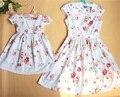 Семья соответствующие наряды хлопок цветочные милые дети с коротким рукавом одежда мать дочь платье девушки детей принцесса повседневные платья