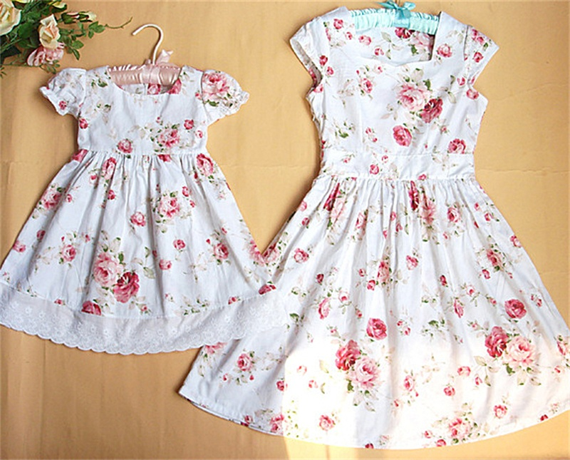 Familie bijpassende outfits katoen bloemen schattige kinderen korte - Kinderkleding