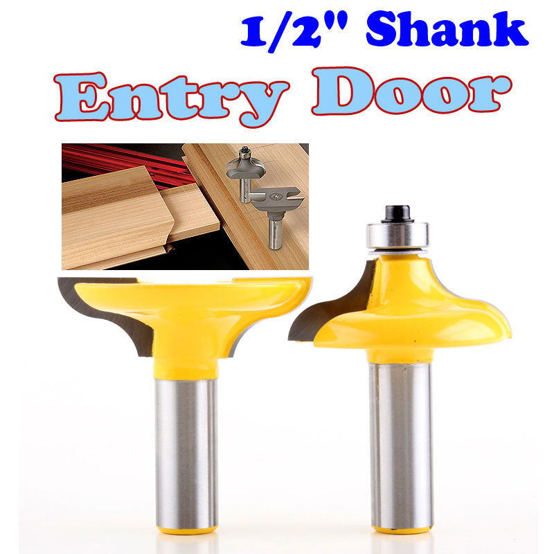 2 PC 1/2 Shank Entry Door for Long Tenons Router Bit woodworking cutter woodworking bits Tenon Cutter for Woodworking Tools high grade carbide alloy 1 2 shank 2 1 4 dia bottom cleaning router bit woodworking milling cutter for mdf wood 55mm mayitr