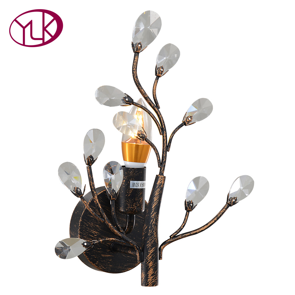 Youlaike Vintage Crystal Wall Lamp Gold Black Led Sconce Indoor Lighting Fixture Hallway Bedside Home Lights willlustr fabric wall lamp beige cloth light europe bronze lighting fixture bedside claridge double sconce with linen shade