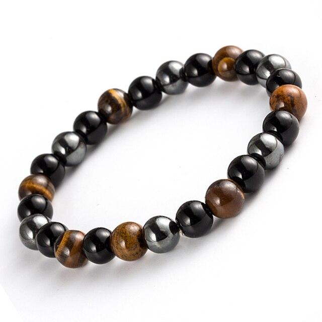 Bracelet De Protection Oeil De Tigre Obsidienne Et Hématite