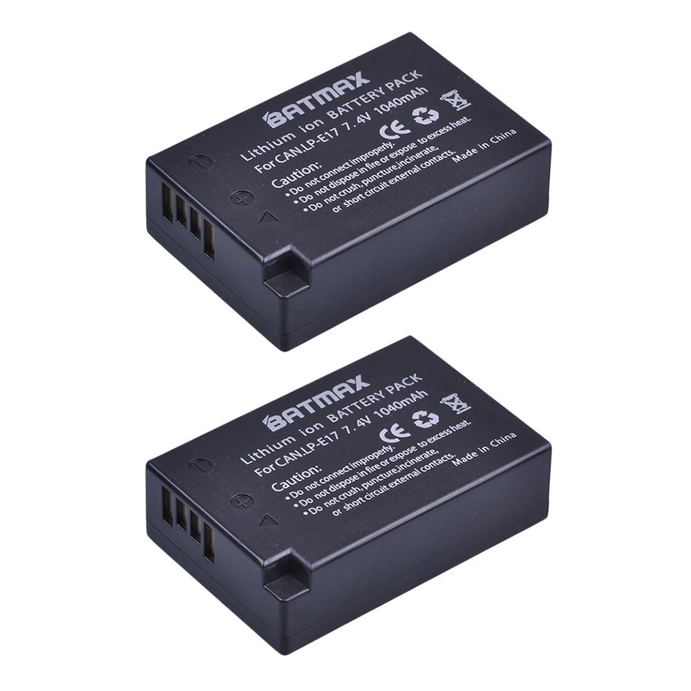 2Pcs LP-E17 LP E17 LPE17 Lion Battery For Canon EOS M3 M5 760D/800D/Kiss 8000D/Rebel T6s 750D/Kiss X8i/Rebel T6i/ M3