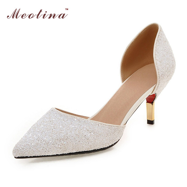 Meotina Women Shoes Pointed Toe High Heels Ladies White Wedding Shoes Two Piece Bridal Pumps Sexy Heels Gold Sliver Big Size 10