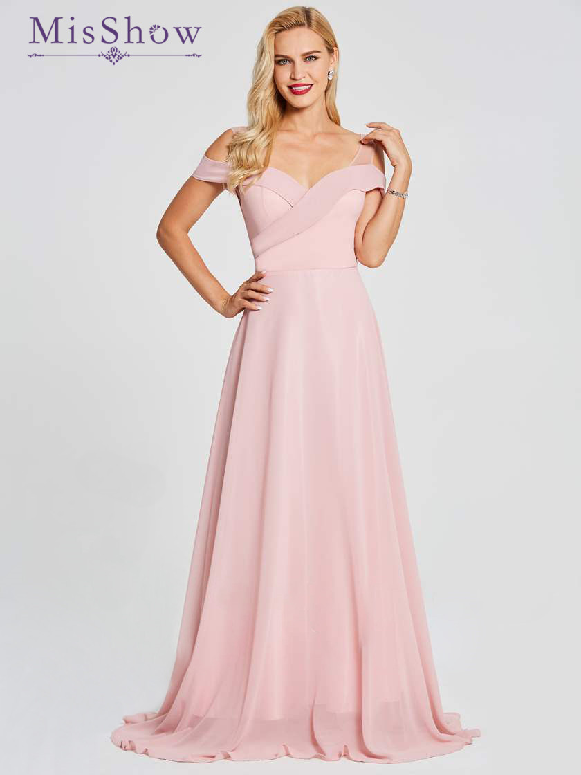 Off Shoulder Backless Cheap Floor Length Chiffon Blush Pink   Bridesmaid     Dresses   2018 A-Line Formal Party Prom   Dresses