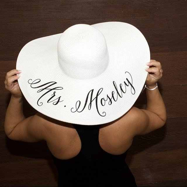 80a66d6d7 personalize beach wedding bride bridesmaid statement floppy Mrs Sequin Sun  Hats Honeymoon bridal shower party gifts favors