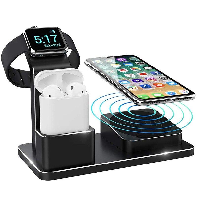 Station de chargeur sans fil à Charge rapide pour Iphone X Iphone XS support multifonction pour Apple Watch 1 2 3 4 Station de Charge pour Airpods