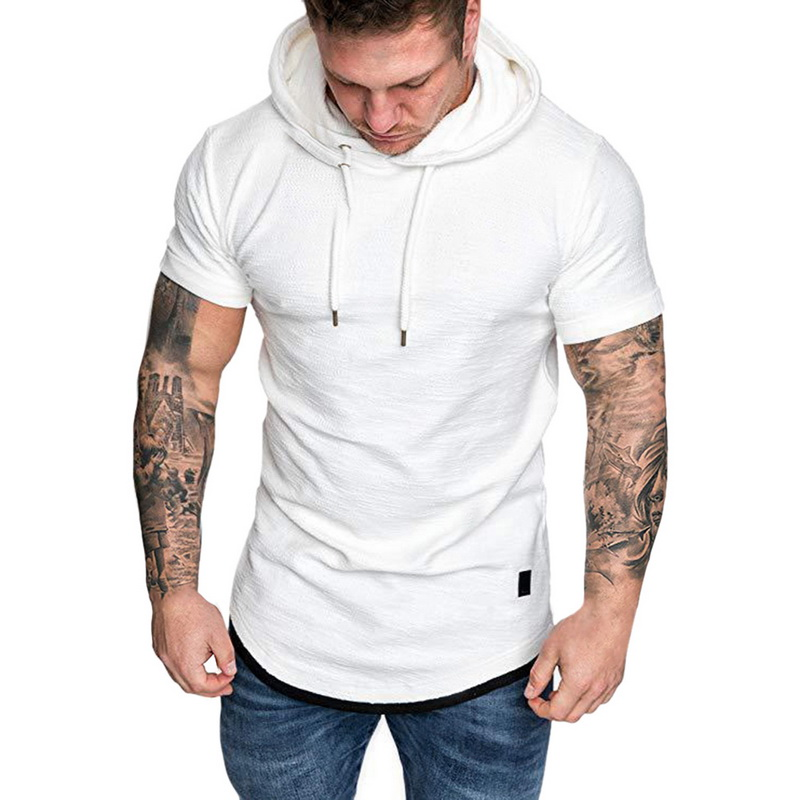 HTB1Z VPRrvpK1RjSZFqq6AXUVXaw Laamei Men's T Shirt 2019 Summer Slim Fitness Hooded Short Sleeved Tees Male Camisa Masculina T Shirt Slim Tshirt Homme 3XL