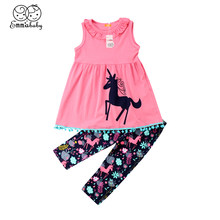 2018 Latest Children's Wear Cute Unicorn Toddler Kids Baby Girl Flower Outfit Set Clothes 100%Cotton Top Dress + Long Pants 2-7T(China)
