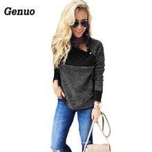 Genuo Women Plush Tops Autumn Winter 2018 Cotton Pullover Stitching Oblique Collar Coat Hoodie Casual Loose Sweatshirt