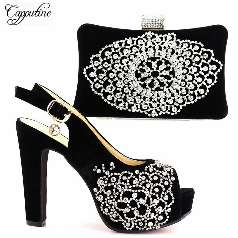 Capputine New Italian Woman Shoes And Bags To Match Set Fashion African High Heels 12.5CM Shoes And Bag Sets For Party Dress capputine new arrival fashion shoes and bag set high quality italian style woman high heels shoes and bags set for wedding party