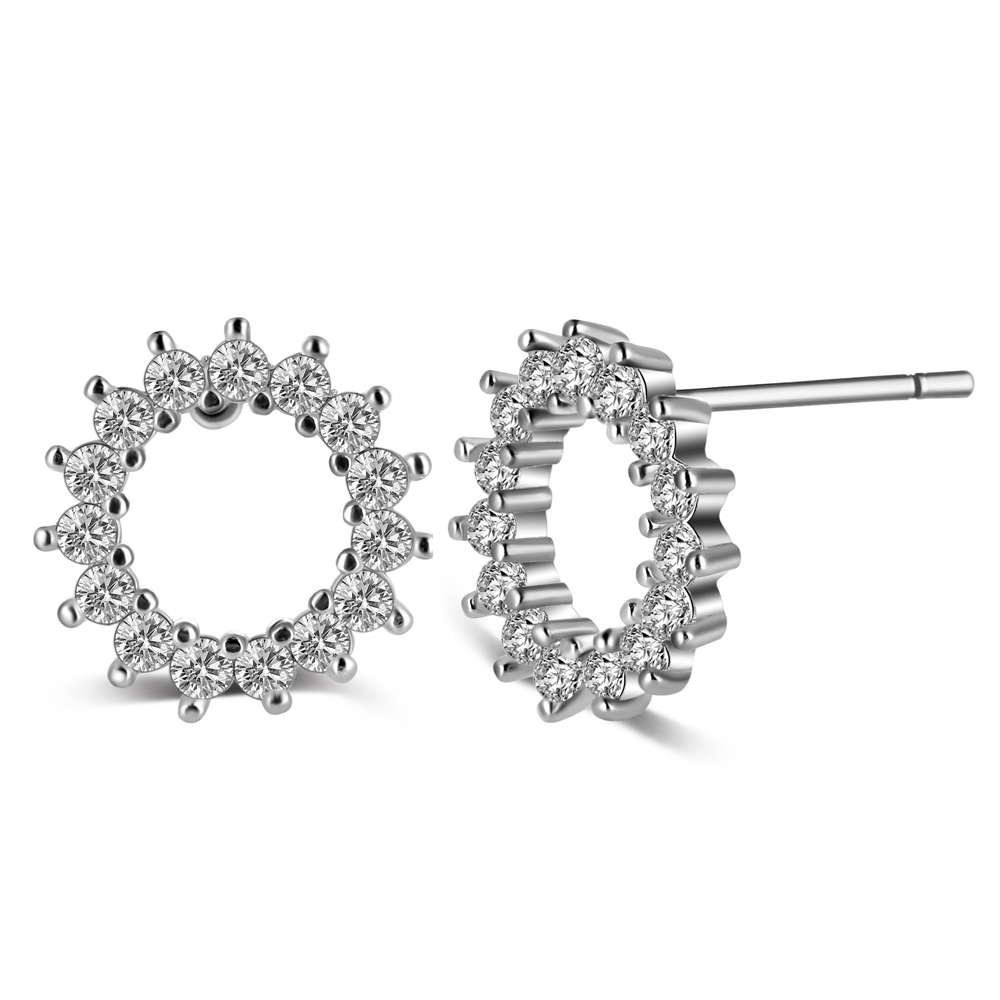 New Korean Earrings Fashion Hollow Zirconium Stud Earrings For Women Accessories Boucles D oreille Femme 2019 in Stud Earrings from Jewelry Accessories