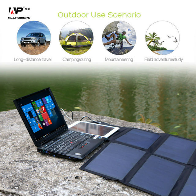 40W Solar Charger Portable Solar Panel Charger for iPhone iPad MacBook Samusng Huawei Dell HP Acer Lenovo Hp and more.
