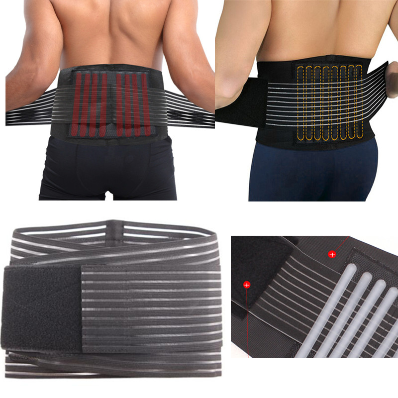 Durable Black Waist Support Brace Belt Lumbar Lower Waist Double Adjustable Back Belt for Pain Relief Body Health Care Braces tcare adjustable tourmaline self heating magnetic therapy waist support belt lumbar back waist brace double band health care